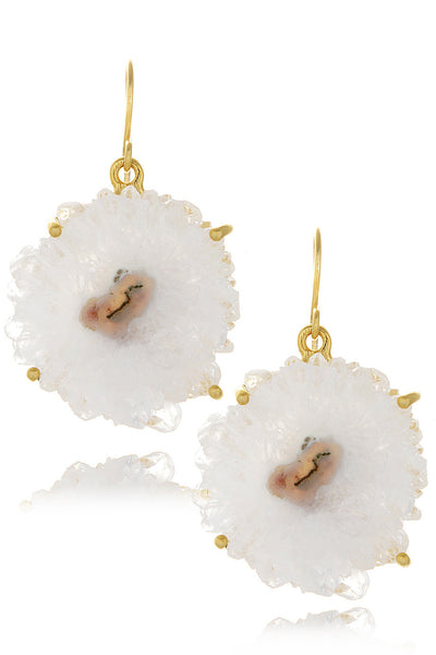 ISHARYA DRUZY White Flower Earrings
