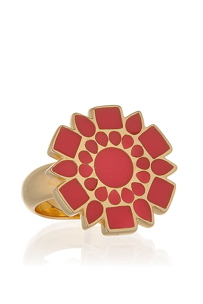 ISHARYA ICON Honeysuckle Pink Enamel Ring