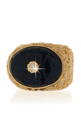 ISHARYA INDIAN Oval Carved Blue Intaglio Ring