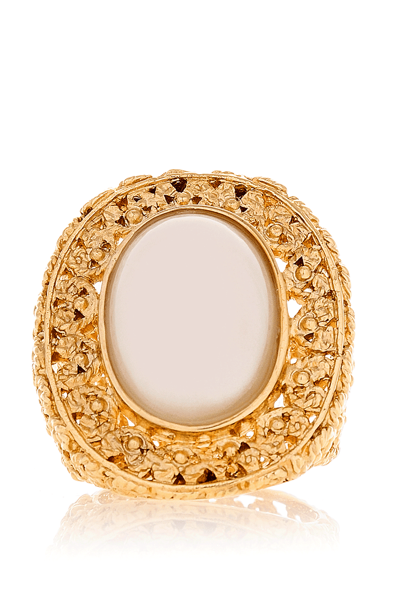 ISHARYA INDIAN FILIGREE Gold Pearl Cocktail Ring