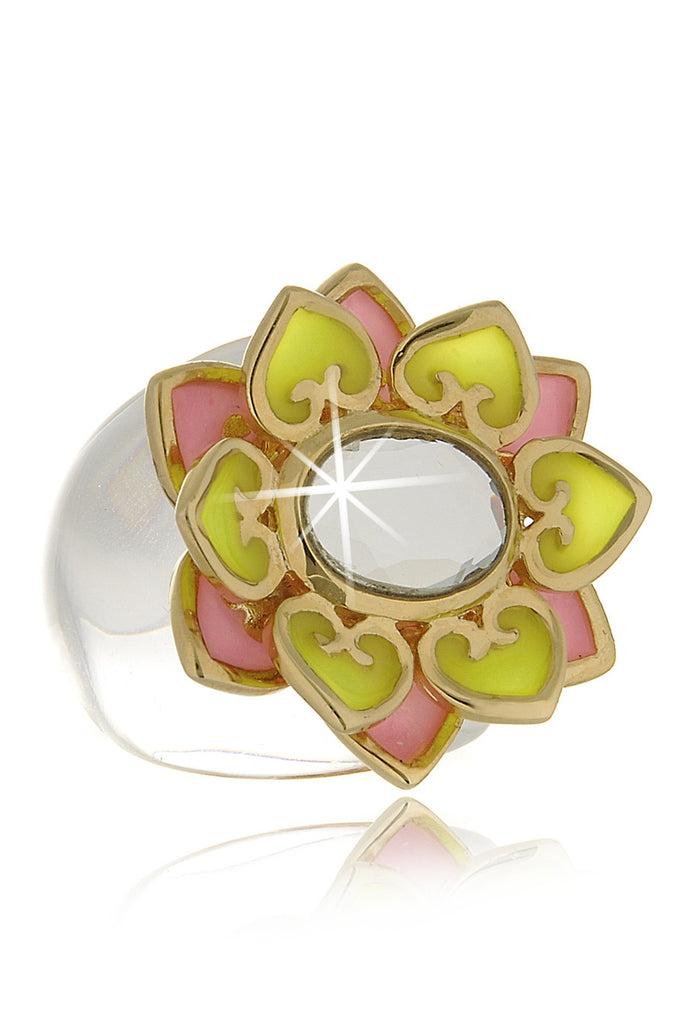 ISHARYA LOTUS Yellow Pink Resin Ring
