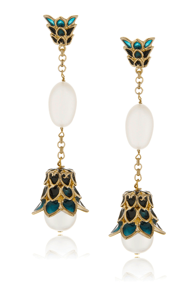 ISHARYA LOTUS Teal Pearl Earrings