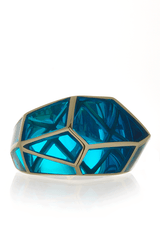 ISHARYA LOUVRE Aqua Blue Resin Ring