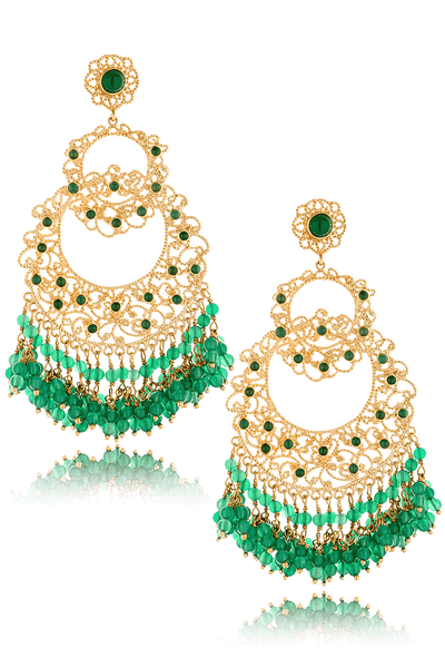 ISHARYA MOON BALI Green Onyx Earrings