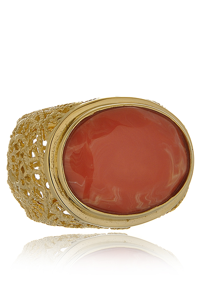 ISHARYA ROUND SWIRL Coral Gold Filigree Ring