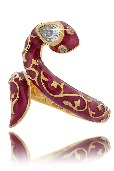 SERPENT Fuchsia Enamel Ring