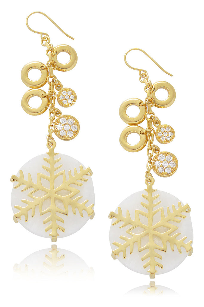 ISHARYA SNOWFLAKE White Agate Earrings