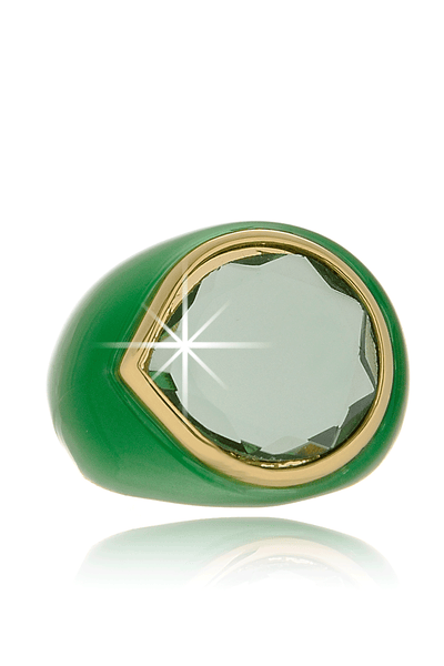ISHARYA CANDY MIRROR Green Resin Ring