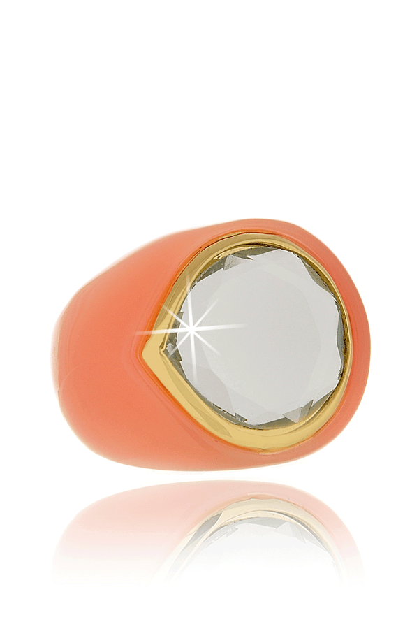 ISHARYA CANDY MIRROR Peach Resin Ring