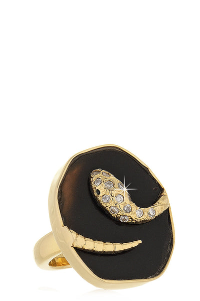 ISHARYA DRUZY SNAKE Black Ring