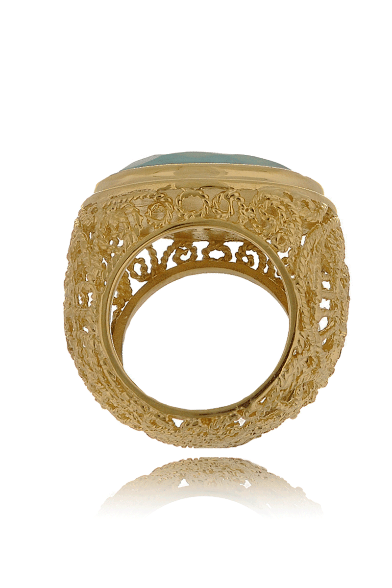 ISHARYA ROUND SWIRL Sea Foam Filigree Ring