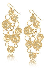 ISHARYA SWIRL Bubble Filigree Gold Earrings