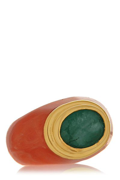ISHARYA VENDOME Emerald Coral Resin Ring