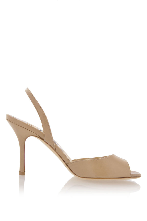 LASER Nude Leather Slingbacks