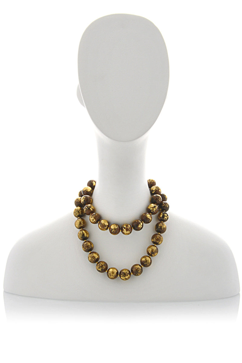 KENNETH JAY LANE BAROQUE Brown Beads Long Necklace