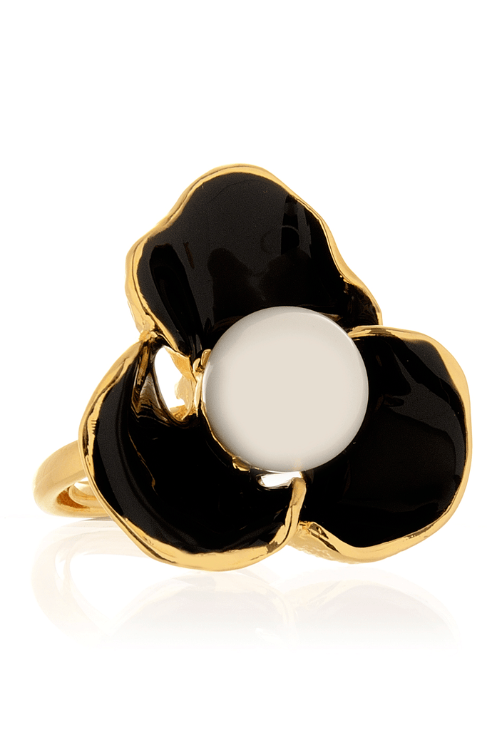 KENNETH JAY LANE BLACK FLOWER Pearl Ring