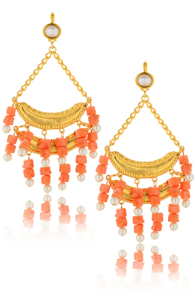 KENNETH JAY LANE BRIELLE Salmon Pearl Earrings