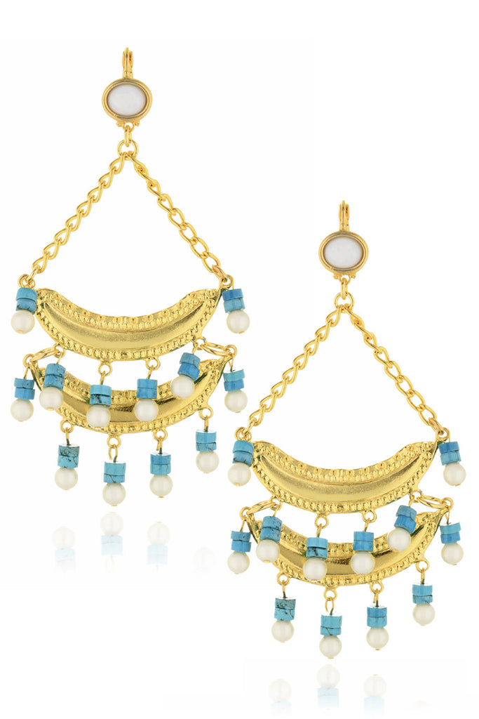 KENNETH JAY LANE BRIELLE Turquoise Pearl Earrings