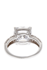 KENNETH JAY LANE CHARLOTTE Silver Crystal Cocktail Ring