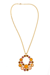 KENNETH JAY LANE CRYSTAL DISC Gold Topaz Pendant