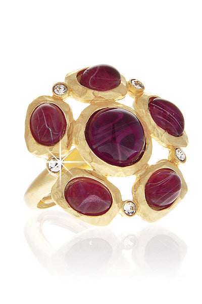 KENNETH JAY LANE FLOWER Purple Gold Hammered Ring