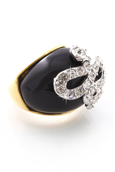 SERPENT Black Crystal Snake Ring