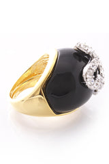 KENNETH JAY LANE SERPENT Black Crystal Snake Ring