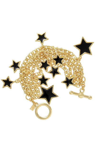KENNETH JAY LANE STARS Black Gold Bracelet