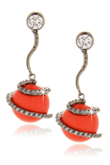 KENNETH JAY LANE SWIRL Coral Crystal Zirconia Earrings