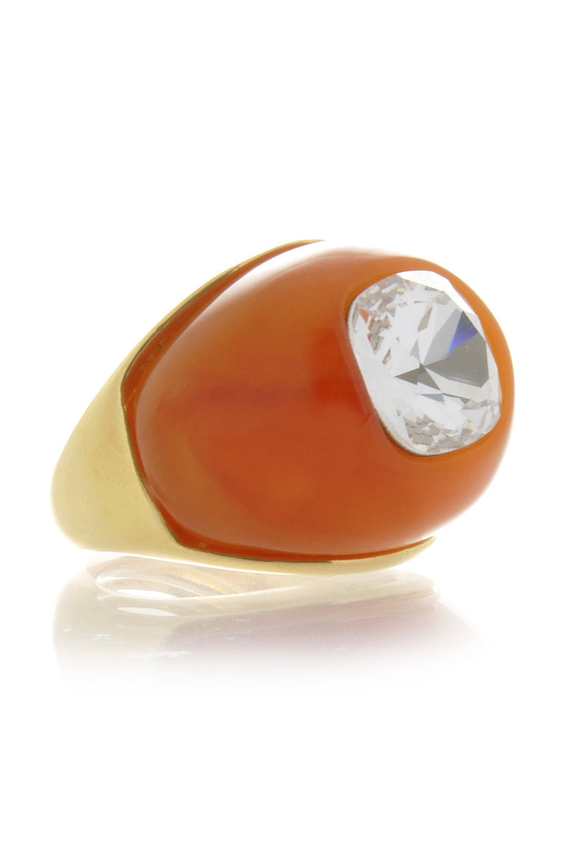KENNETH JAY LANE AMBER Crystal Dome Ring