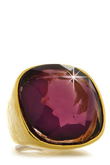 KENNETH JAY LANE AMETHYST Gold Hammered Ring