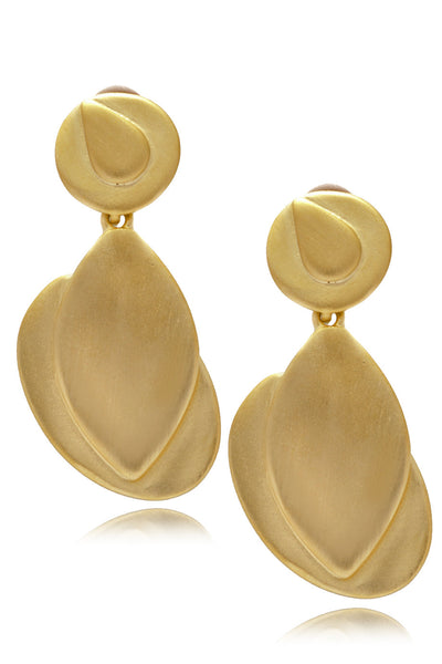 KENNETH JAY LANE - ARETHA Gold Drop Clip Earrings Jewelry