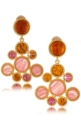 KENNETH JAY LANE AVA Gold Topaz Drop Clip Earrings