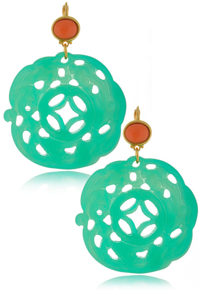 KENNETH JAY LANE BALI Carved Mint Earrings
