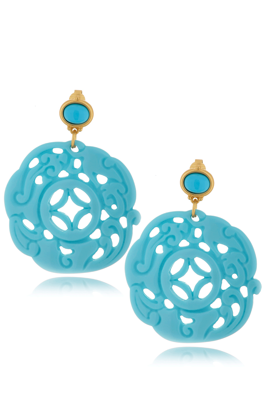 Kenneth Jay Lane Carved Turquoise Earring Turquoise t2iB4