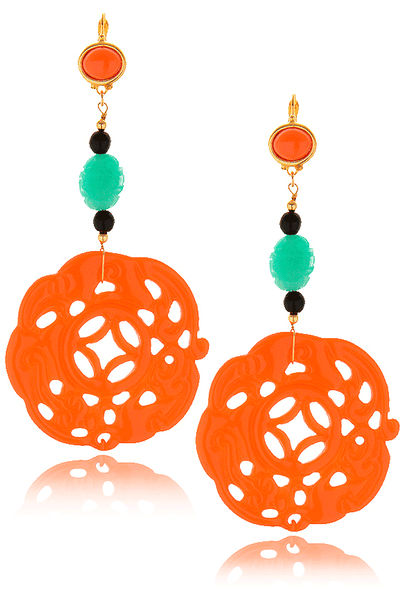 KENNETH JAY LANE BALI Coral Carved Earrings