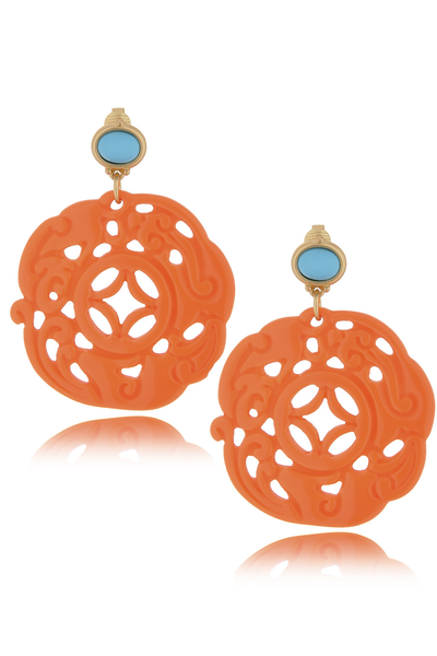 KENNETH JAY LANE BALI Coral Turquoise Clip Earrings