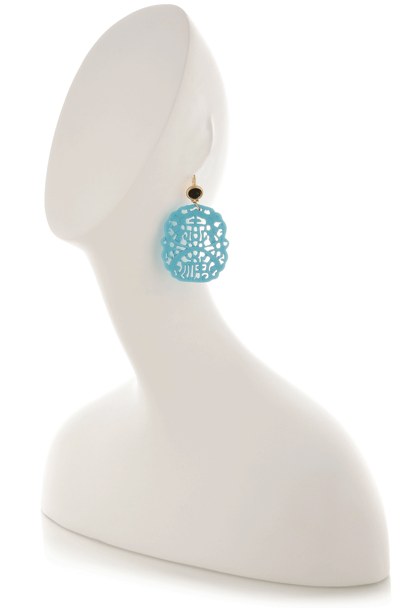 KENNETH JAY LANE BALI Turquoise Black Carved Earrings