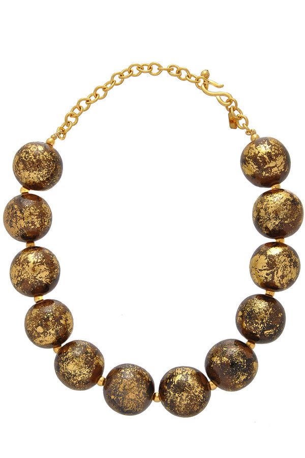 KENNETH JAY LANE BAROQUE Brown Beads Necklace