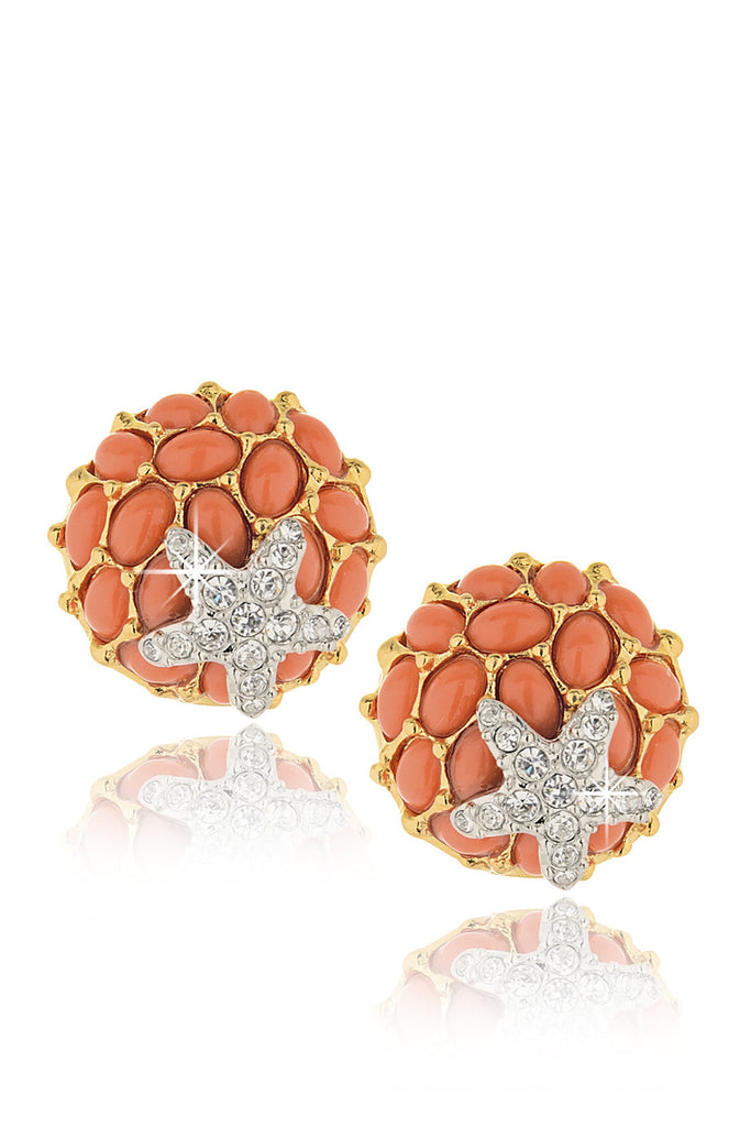 KENNETH JAY LANE BERTILLE Coral Starfish Clip Earrings