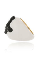 KENNETH JAY LANE BRANCH Black White Enamel Ring