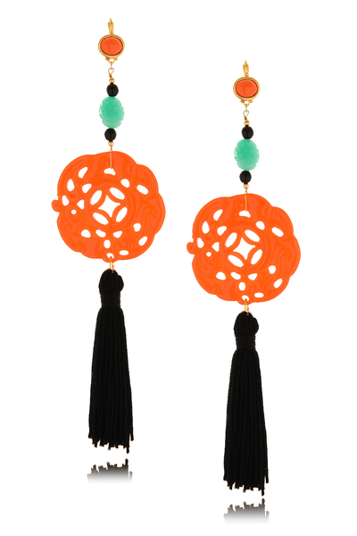 BURLESQUE Jade Carved Tassel Earrings