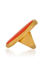 KENNETH JAY LANE BUTTON Oval Gold Coral Ring