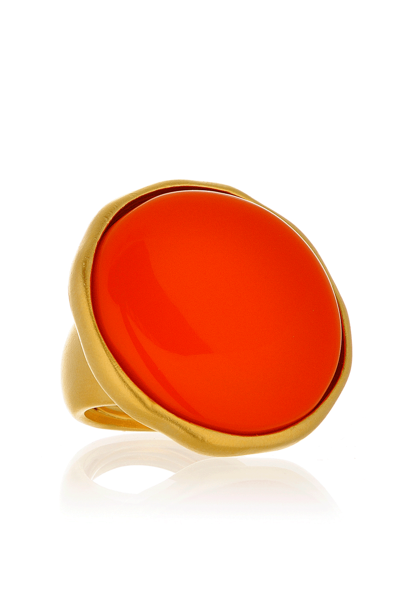 KENNETH JAY LANE BUTTON Satin Gold Coral Ring