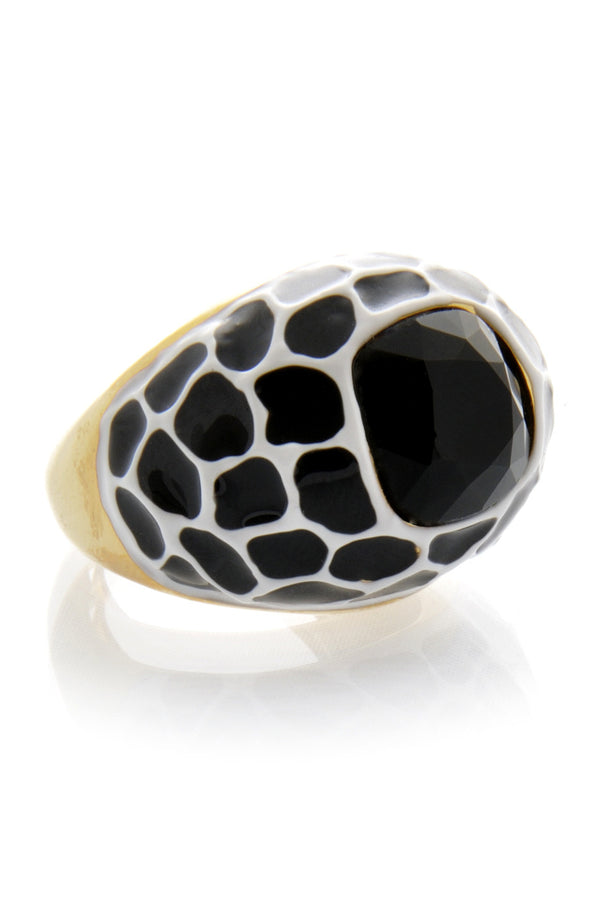KENNETH JAY LANE Black Spots Cocktail Ring