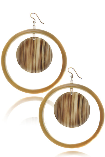 KENNETH JAY LANE CAMEL Tortoise Hoop Earrings