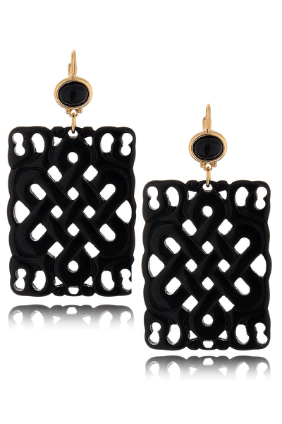 KENNETH JAY LANE CARVED Square Black Resin Earrings