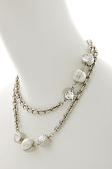 KENNETH JAY LANE CELESTIAL Silver Pearl Necklace