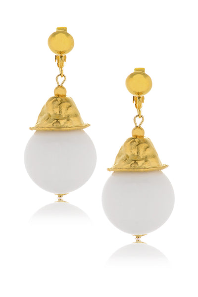 KENNETH JAY LANE CELINE White Resin Earrings