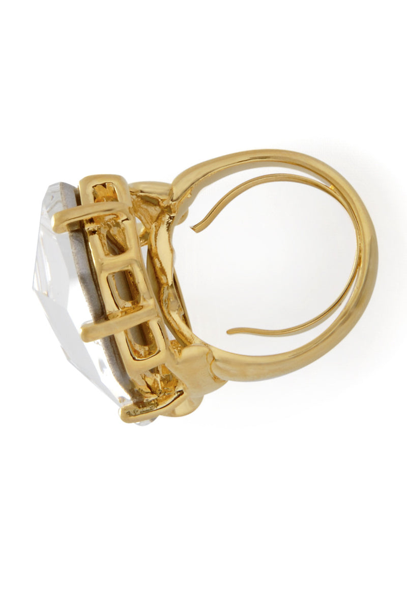 KENNETH JAY LANE CLEAR CRYSTAL Coctail Ring